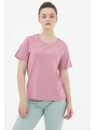 Sementa Cebi Nakış Detaylı Tshirt - Gül Kurusu Kırmızı